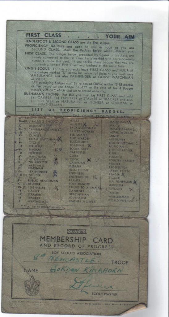 Gordon Kinghorn record card - side 1